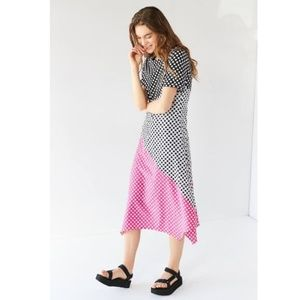 GHOSPELL Colorblock Polka Dot Midi Dress
